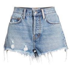 Women's Current/elliott The Ultra High Waist Cutoff Denim Shorts (485 AED) ❤ liked on Polyvore featuring shorts, high-waisted shorts, ripped denim shorts, destroyed denim shorts, jean shorts and high-waisted cut-off shorts