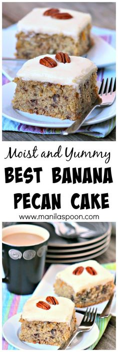 Freshly squeezed orange juice and zest lend fruity flavor while pecans add crunch to this moist and delicious banana cake.