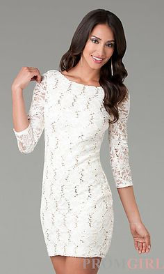 Short Three Quarter Sleeved Lace Dress at PromGirl.com