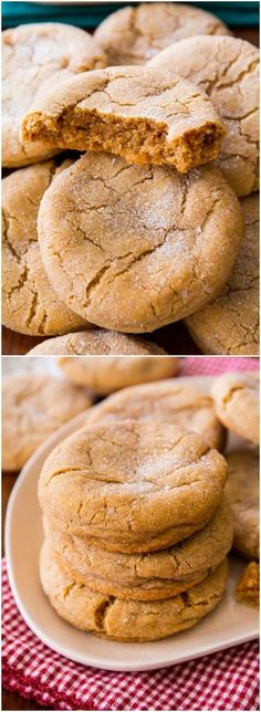 Super soft and chewy brown sugar cookies no mixer required! Recipe on sallysba - Mixer - Ideas of Mixer - Super soft and chewy brown sugar cookies no mixer required! Recipe on sallysbakingaddic Cookie Desserts, Just Desserts, Delicious Desserts, Dessert Recipes, Yummy Food, Cokies Recipes, Healthy Food, Yummy Snacks, Holiday Baking
