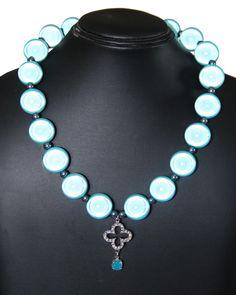 Boulle in resina riflettente, croce in metallo e strass, pendente cristallo Swarovski, ematite