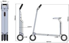 """folding electric scooter concept. designed for """"last mile"""" commuting and can be quickly folded to form a clean and elegant enclosure. easily carried in a car and through public transport, the folded scooter appears unobstrusive and therefore can be taken …"""