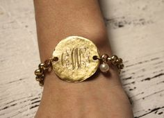 Monogrammed Bracelet with pearl by BijouxByAyme on Etsy, $35.00
