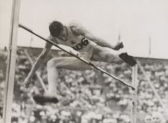 Athlete John Winter winning the high jump event at the London Olympic Games, August 1948.
