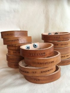 Bracelet Intention / Wear Your Word wearable inspiration Leather Cuff Bracelet image 0 Leather Gifts, Leather Craft, Leather Jewelry Making, Metal Jewelry, Geek Jewelry, Gothic Jewelry, Jewelry Necklaces, Mens Leather Cuff Bracelets, Cowgirl Jewelry