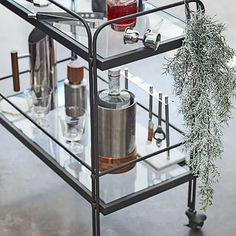 Set on four wheels, our industrial-inspired Fulton Bar Cart is ready to move wherever the party is. Its airy, antique bronze-finished frame is accented with button hardware. Bar Cart Styling, Bar Cart Decor, Small Furniture, Modern Furniture, Gold Bar Cart, Modern Contemporary Homes, Room Planning, Home Decor Items, Frames On Wall
