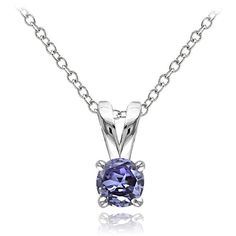 Glitzy Rocks Sterling Silver Tanzanite Solitaire Necklace... ($19) ❤ liked on Polyvore featuring jewelry, necklaces, blue, blue necklace, tanzanite pendant, sterling silver necklace, long chain necklace and long sterling silver necklace