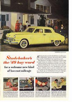 Studebaker Land Cruiser Car Print Ad,1949,Vintage, Yellow Automobile