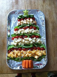 Christmas tree cheese and veggie tray - veggie dip and crackers on the side!