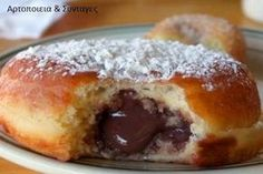 """veganjunkfood: """" Chocolate creme-filled doughnut from Mighty-O, Seattle. """"This donut rules supreme. The softest, moistest cake ever—filled up with rich gooey chocolate sauce, all topped with a. Greek Sweets, Greek Desserts, Greek Recipes, Think Food, Love Food, Food Network Recipes, Food Processor Recipes, Vegan Doughnuts, The Kitchen Food Network"""