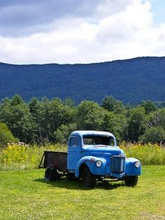 Old blue farm truck---love the colors in this photo ~ via Ally at Country Outfitter via Angela Pesta