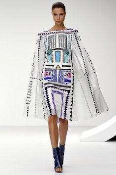 Cape-like dress with a postage stamp print by Mary Katrantzou