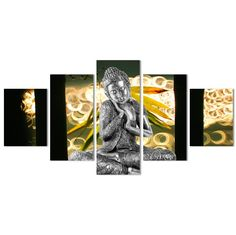 Properties Material: Cotton Polyester Availability: Framed (Framed comes stretched and is ready to hang on wall) or Unframed (print only, not ready to hang on wall). Please select correctly. Budha Art, 5 Panel Wall Art, Buddha, Zen, Meditation, Wall Decor, Canvas Prints, Purple, Frame