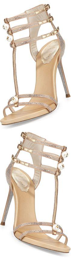 Rene Caovilla Pearly T-Strap Leather Sandal, Beige 2016