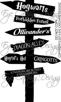 Harry Potter Road Sign Hogwarts Ollivanders Bedding Home Decor Wall Decal Art #Oracal