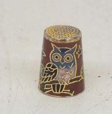 Colorful Metal Thimble w/ Inlaid Owl Design Satisfaction Guaranteed Fast Ship!