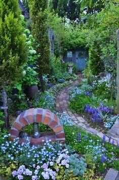Organic Gardening And Farming Magazine Refferal: 4828404266 Blue Garden, Shade Garden, Dream Garden, Garden Path, Rustic Gardens, Outdoor Gardens, Landscape Design, Garden Design, Garden Spaces