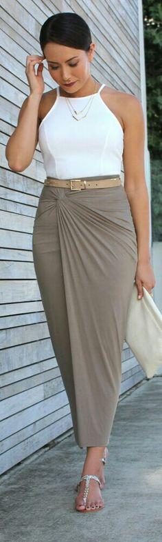 Charcoal Store Khaki Skirt   Catalog Clothing White Tank - Style Me Yesterday