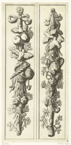 Artus Quellinus (I) | Twee pilaster festoenen met schelpen en parelsnoeren, Artus Quellinus (I), Anonymous, Anonymous, after 1665 - c. 1700 | Aan beide kanten twee duiven. Tegenzijdige kopie naar prenten uitgegeven door Hubertus Quellinus en prenten uitgegeven door Johannes de Ram. Festoenen in het stadhuis van Amsterdam.