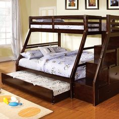 Benzara Ellington Twin/full Bunk Bed with creative side storage and trundel, Dark Walnut