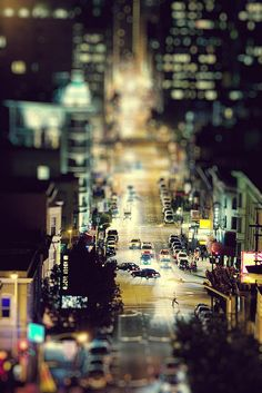 Something about this tilt-shift city nightscape suggests a well-planned diorama scene to me, more so than some other shots with the same technique. Like.