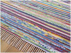 "Handmade Rag Rug - Bright Multicolored - 96"" x 120"" on Etsy, $480.00"