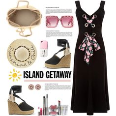 Chic Island Getaway by hamaly on Polyvore featuring moda, Warehouse, Yves Saint Laurent, Ted Baker, Betsey Johnson, Gucci, Juice Beauty, outfit, ootd and islandgetaway