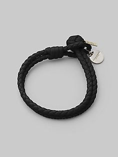Bottega Veneta Woven Leather Bracelet | Fine leather, artfully woven into a rope design that wraps the wrist with rich character | Woven leather, medallion detail, knot and loop closure