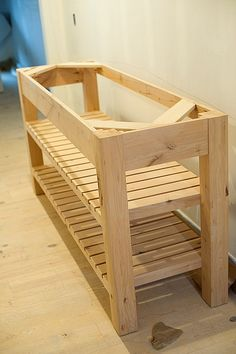 Originally a bathroom vanity, but looks simple enough to make into a garden bench or entryway side table