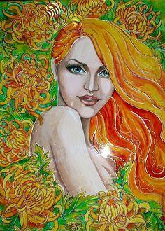 """Купить Картина """"Букетик желтой хризантемы светился солнечным огнем..."""" - жёлтый, цветы, девушка"""
