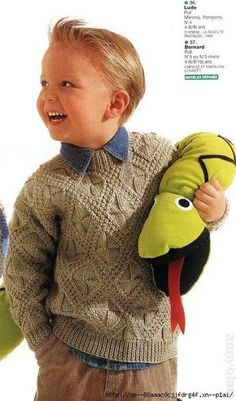 """ru / Photo # 40 - """"Jednotlivci + out. Baby Knitting Patterns, Crochet Stitches Patterns, Knitting For Kids, Knitting Designs, Knitting Stitches, Knitting Projects, Knit Baby Sweaters, Knitted Baby Clothes, Boys Sweaters"""