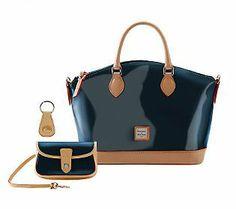 Dooney & Bourke Patent Leather Satchel with Vachetta Trim & Accessories