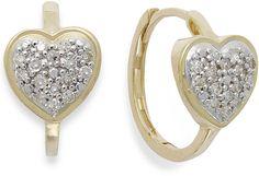wrappedTM Diamond Heart Hoop Earrings in 10k Gold (1/6 ct. t.w.) on shopstyle.com