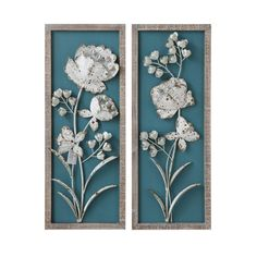 Creative Co-op Blue Wood Wall Decor with White Metal Flowers - Set of 2 Metal Flower Wall Decor, Wall Decor Set, Floral Wall Art, Metal Flowers, Metal Wall Decor, Wall Art Sets, Metal Wall Art, Wall Wood, Wall Décor