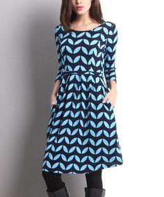 Another great find on #zulily! Navy Geo-Leaf Fit & Flare Dress #zulilyfinds