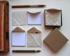Make tiny envelopes (with notecards) out of book pages