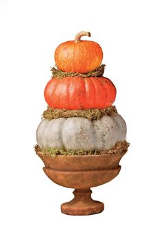 Gather Pumpkins | Bring the warm colors of fall into your home with these beautiful and simple decorating projects. There are so many ways to decorate your home in a tasteful and festive way for fall. Pumpkins, gourds, fall foliage, and pinecones are a handful of popular themes that can serve as inspiration. You can mix all of these elements together across your mantle or you can stagger them artfully down your front steps. You can make a fall wreath out of miniature pumpkins. Use all cream…