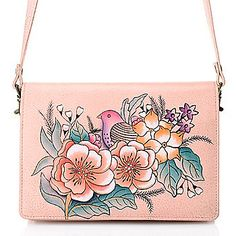 edc5eb8ad89 Anuschka Hand-Painted Leather Flap-over Convertible Clutch w  Removable  Strap