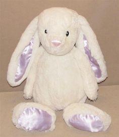 "Animal Adventure White Bunny Rabbit Plush Purple Satin Feet Ears 16"" Toy 2015 #AnimalAdventure"