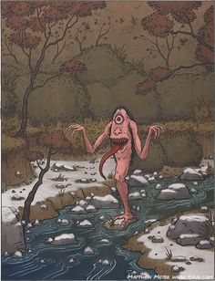 A-Yokai-A-Day: Ippondatara Posted on Thursday October 8th, 2015 A lot of yokai have recurring themes to them: prostitutes, priests, young boys… these are not coincidences. These different classes of yokai are all there for reasons. In some of the cases, they are commentaries on societal problems that Toriyama Sekien and other yokai-ologists saw in Edo period Japan.  Another commonly recurring theme is having one eye. A number of yokai have this trait, ao bozu, hitotsume nyudo, hitotsume…