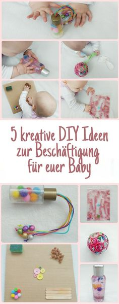 Fünf einfach umzusetzende DIY Ideen für euer Baby. Zur Beschäftigung oder als gemeinsame Aktivität, hier findet ihr alles was die Sensorik und Feinmotorik anspricht. Für Babys von 6-12 Monaten