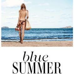 Anna Ewers In 'Blue Summer' By Patrick Demarchelier For Vogue UK June... ❤ liked on Polyvore featuring text, magazine, pictures, sea, words, quotes, phrase and saying