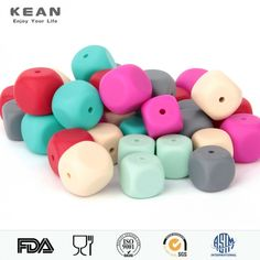 Cube Silicone Teething Beads DIY Baby Chew Necklace Teether Making Sensory Toys