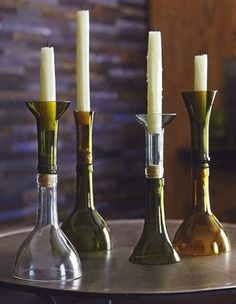 Smart recycled bottle candle holders, with a cork.