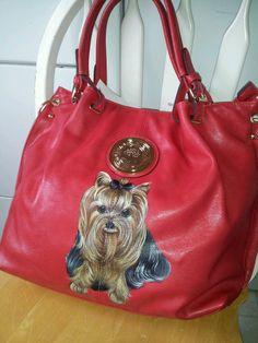 Handpainted Yorkie Red Handbag Painting Purse Dog Art Misspaintsalot