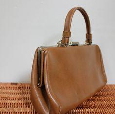 Leather Handbag. Tan Leather Bag. Vintage Purse. 1950s. $19.00, via Etsy.