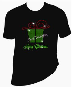 Merry Christmas with rhinestone present T Shirt. Your choice of women's or men's type shirts. - pinned by pin4etsy.com