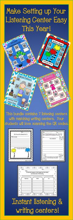 These listening centers use QR codes that your students can scan.  Each listening center also comes with a writing activity.  $
