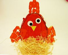 Finger Paint and straw Little Red Hen