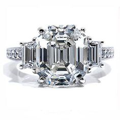 Asscher Diamond Accent Engagement Ring - Unusual Engagement Rings Review